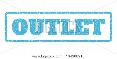 Light Blue rubber seal stamp with Outlet text. Vector caption inside rounded rectangular shape. Grunge design and dust texture for watermark labels. Horisontal emblem on a white background.