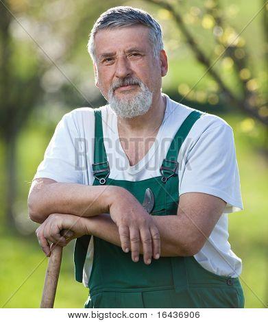Portrait of a gardener in a garden
