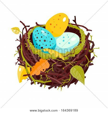 Nest with colorful speckled eggs and dry leaves vector illustration