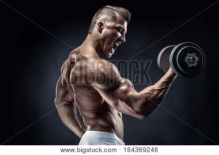 Muscular Bodybuilder Guy Doing Exercises With Dumbbell
