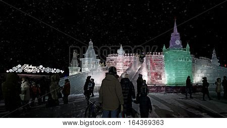 MOSCOW - JANUARY 04 2017: Ice figures shown on Poklonnaya Hill in Moscow. Figures represent different landmarks of Russia. Christmas and New Year decoration.