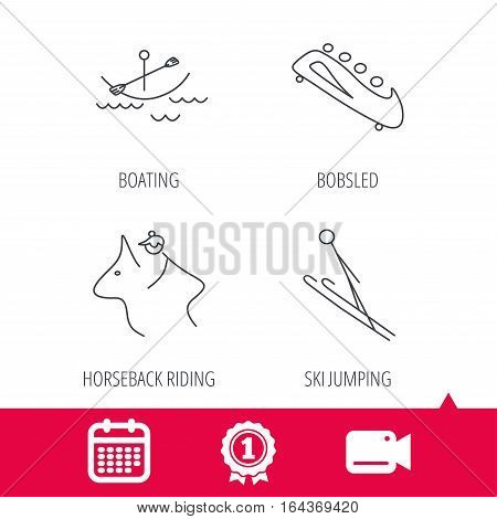 Achievement and video cam signs. Boating, horseback riding and bobsled icons. Ski jumping linear sign. Calendar icon. Vector