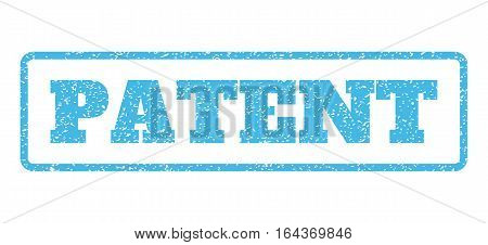 Light Blue rubber seal stamp with Patent text. Vector tag inside rounded rectangular frame. Grunge design and dust texture for watermark labels. Horisontal emblem on a white background.