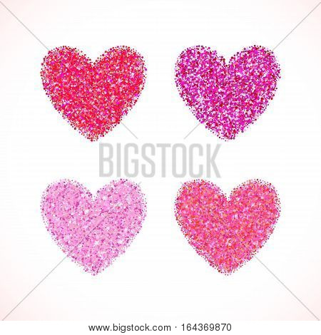 Pink glitter valentine day heart shape. Vector background for wedding invitation, greeting card. Glamorous sparkling banner backdrop.