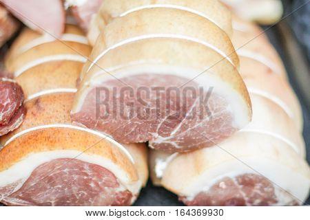 Fresh pork loin on the street market