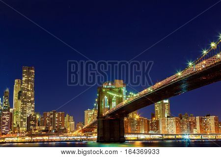 Downtown Manhattan night view from Brooklyn Bridge Park night Brooklyn Bridge