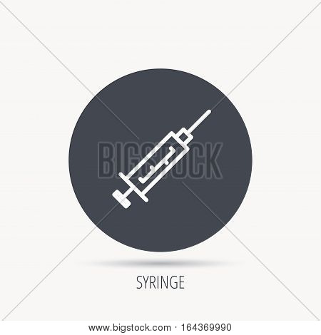 Syringe icon. Injection or vaccine instrument sign. Laboratory analyze symbol. Round web button with flat icon. Vector
