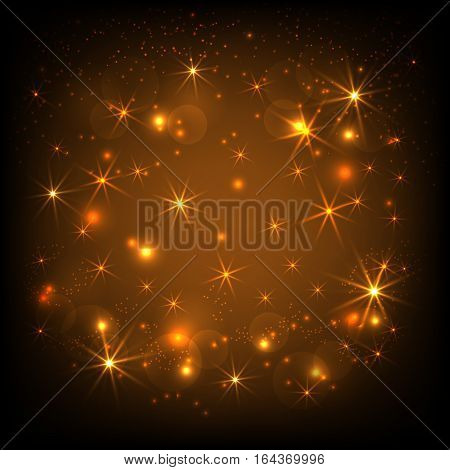 Gold glitter sparkles background. Twinkling confetti shimmering star lights. Vector Illustration.