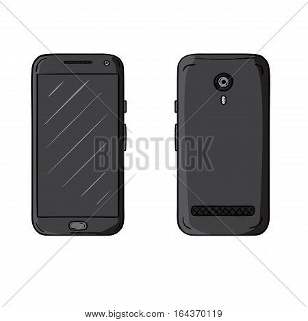 Colored vector sketch of smartphone. Set of two side, front and back with one main cntrol button. Hand drawn illustration