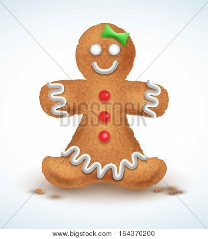 Gingerbread man decorated colored icing. Holiday cookie in shape of man. Qualitative vector illustration for new year s day, christmas, winter holiday, cooking, new year s eve, food, silvester, etc