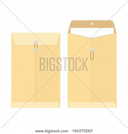office manila envelope isolated over white background vector illustration