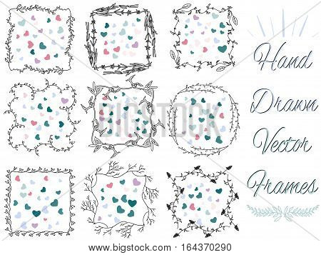 hand drawn floral vector frames set for your design. Floral Frames. Cute retro plants arranged un a shapes  perfect for wedding invitations, birthday or valentine cards.