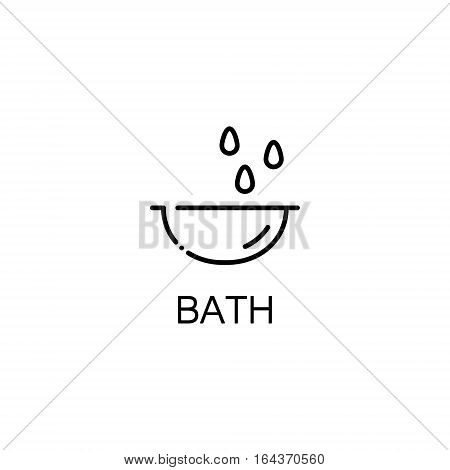 Bath flat icon. Single high quality outline symbol of baby stuff for web design or mobile app. Thin line signs of bath for design logo, visit card, etc. Outline pictogram of bath