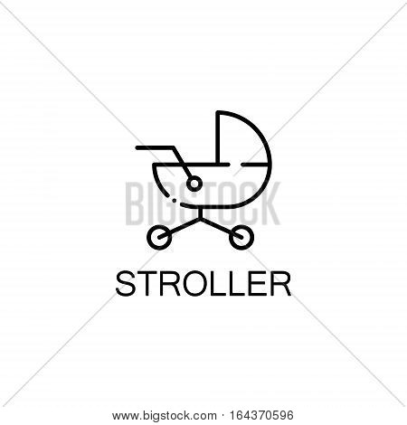 Stroller flat icon. Single high quality outline symbol of baby stuff for web design or mobile app. Thin line signs of stroller for design logo, visit card, etc. Outline pictogram of stroller