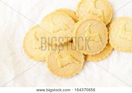 Plenty of shortbread biscuits on the white surface