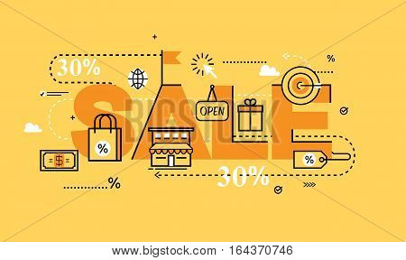 Word SALE for website banners. Flat line business vector illustration design and infographic elements for shopping, e-commerce services, promotions, discounts, sale, internet and online sale