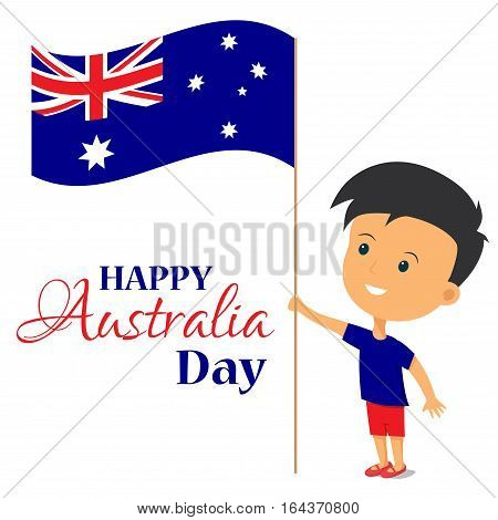 Happy Australia day. boy holding a flag Australia