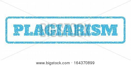 Light Blue rubber seal stamp with Plagiarism text. Vector tag inside rounded rectangular banner. Grunge design and unclean texture for watermark labels. Horisontal sticker on a white background.