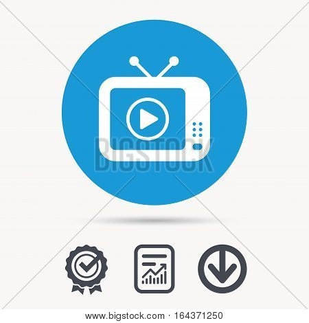 TV icon. Retro television symbol. Achievement check, download and report file signs. Circle button with web icon. Vector