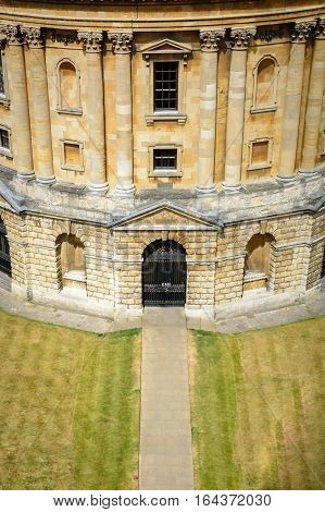 Part of Oxford University with entrance. Vertical view shot from above with one Oxford University entrance.