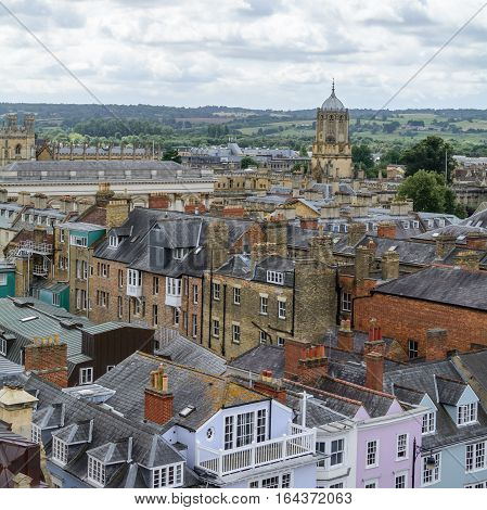Panorama with Oxford England. Oxford is known as the home of the University of Oxford.