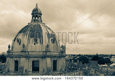 Amazing photo with Radcliffe Camera Oxford University. Overview with famous dome Oxford University library.
