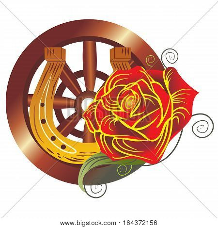 Gypsy design over white background with rose and cartwheel vector illustration.