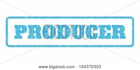Light Blue rubber seal stamp with Producer text. Vector caption inside rounded rectangular banner. Grunge design and dust texture for watermark labels. Horisontal sticker on a white background.