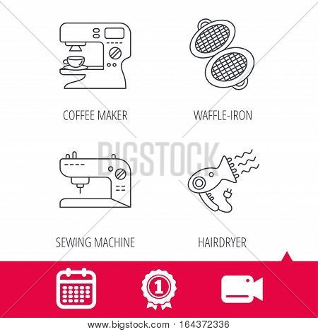 Achievement and video cam signs. Coffee maker, sewing machine and hairdryer icons. Waffle-iron linear sign. Calendar icon. Vector