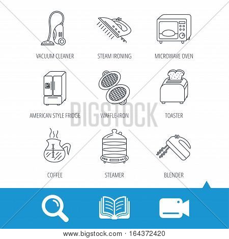 Microwave oven, coffee and blender icons. Refrigerator fridge, steamer and toaster linear signs. Vacuum cleaner, ironing and waffle-iron icons. Video cam, book and magnifier search icons. Vector