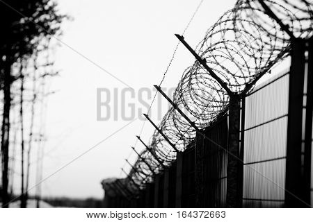 Sharp Barbed Wire On Fence