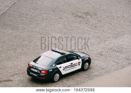 Tbilisi, Georgia - October 21, 2016: Road police Skoda Octavia car in town square