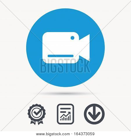 Video camera icon. Film recording cam symbol. Security monitoring. Achievement check, download and report file signs. Circle button with web icon. Vector