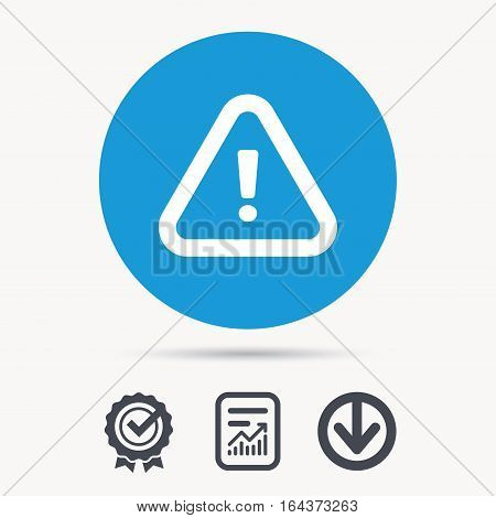 Warning icon. Attention exclamation mark symbol. Achievement check, download and report file signs. Circle button with web icon. Vector