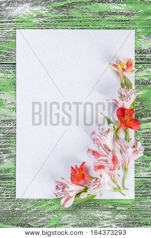 Holiday Card With Paper And Flowers