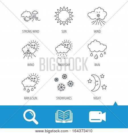 Weather, sun and rain icons. Moon night, clouds linear signs. Strong wind, snowflakes and water drops flat line icons. Video cam, book and magnifier search icons. Vector