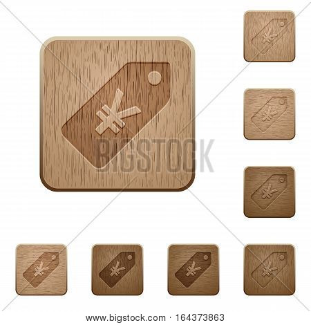Yen price label on rounded square carved wooden button styles