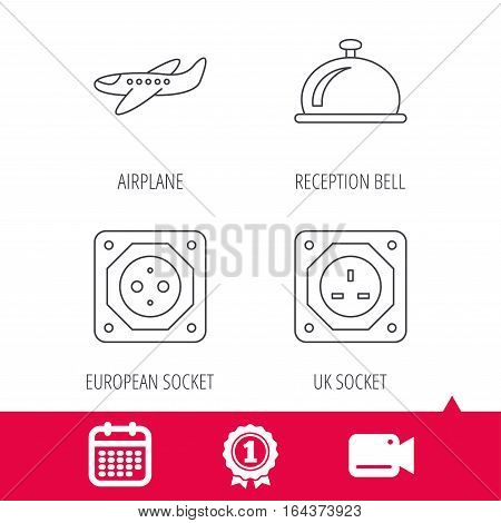Achievement and video cam signs. Air-plane, european socket and reception bell icons. UK socket linear sign. Calendar icon. Vector