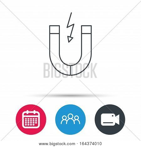 Magnet icon. Magnetic power sign. Physics symbol. Group of people, video cam and calendar icons. Vector