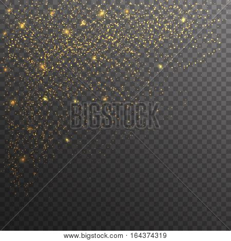 Gold glitter sparkles on transparent background. Vector golden dust texture. Twinkling confetti shimmering star lights.