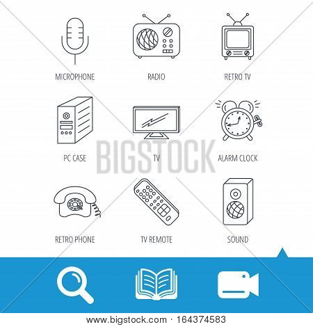 TV remote, retro phone and radio icons. PC case, microphone and alarm clock linear signs. Video cam, book and magnifier search icons. Vector