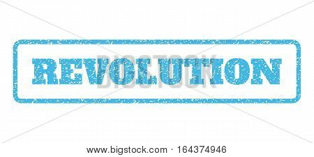 Light Blue rubber seal stamp with Revolution text. Vector tag inside rounded rectangular shape. Grunge design and scratched texture for watermark labels. Horisontal sign on a white background.