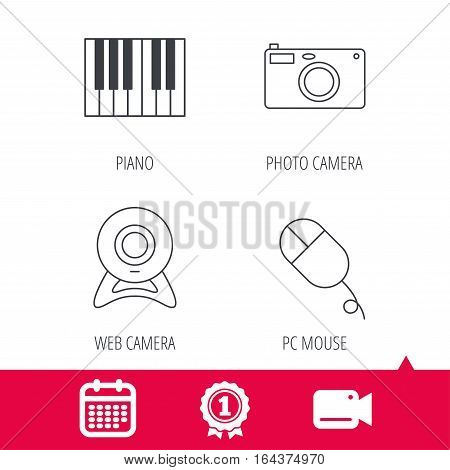 Achievement and video cam signs. Piano, web camera and photo camera icons. PC mouse linear sign. Calendar icon. Vector