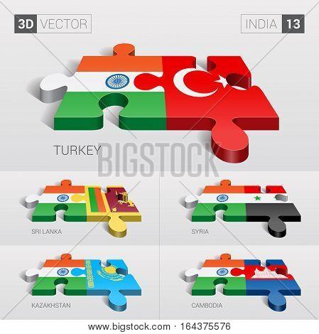 India puzzle part joint with Turkey, Sri Lanka, Syria, Kazakhstan, Cambodia.