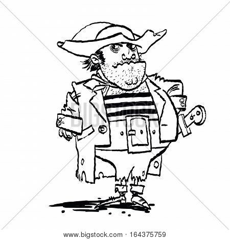 Funny pirate captain, cartoon style vector illustration. Black and white image