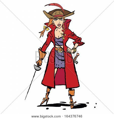 Beautiful young woman pirates, cartoon style vector illustration