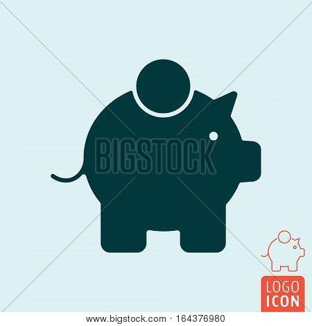 Piggy bank icon. Money box symbol. Vector illustration