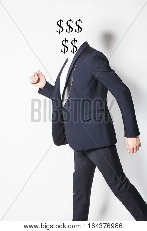 young businessman thinking on white background, body part, concept of business people working close up