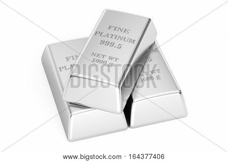 Platinum bars 3D rendering isolated on white background