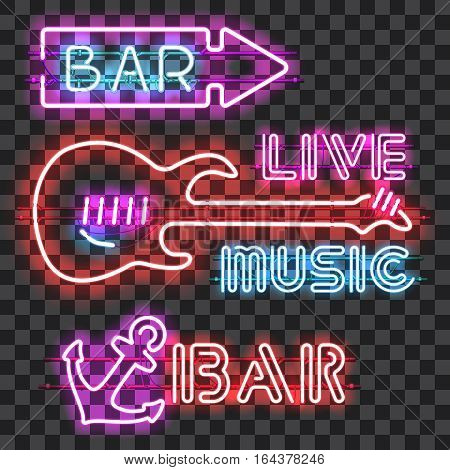 Set of glowing bar neon signs isolated on transparent background. Shining and glowing neon effect. Every sign is separate unit with wires, tubes, brackets and holders. Bar sign, live music sign.